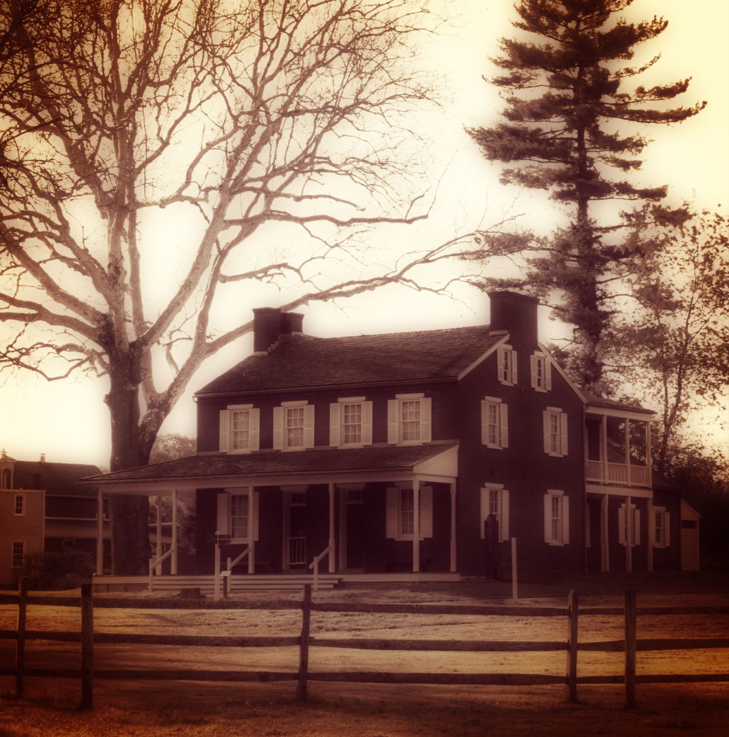Spooky view of Landis Valley House Hotel